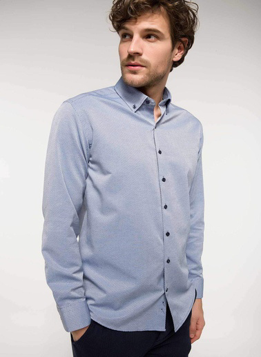 DeFacto Modern Fit Uzun Kollu Gömlek Mavi